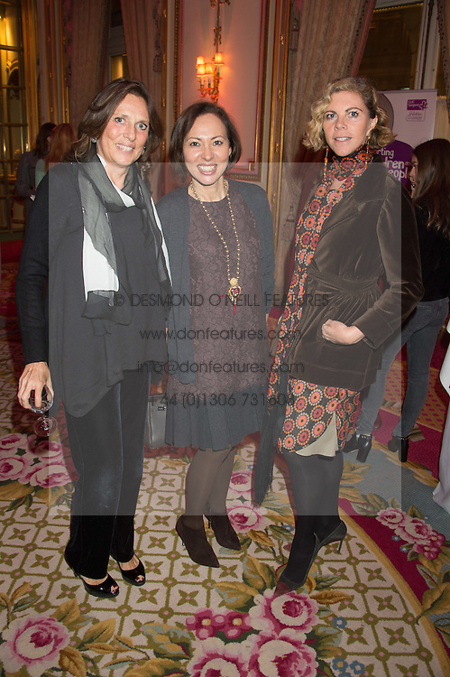 Left to right, SARA CARELLO, WARLY TOMEI and LAURA SARTORI RIMINI at a reception and talk in honour of the late Loulou de La Falaise hosted by CLIC Sargent held at The Ritz, Piccadilly, London on 2nd November 2015.