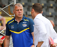 James Lowes (Coach) of Leeds Rhinos chats to Kevin Sinfield (Director of Rugby)ahead of kick off during the Betfred Super League match at the Mend-A-Hose Jungle, Castleford<br /> Picture by Stephen Gaunt/Focus Images Ltd +447904 833202<br /> 08/07/2018