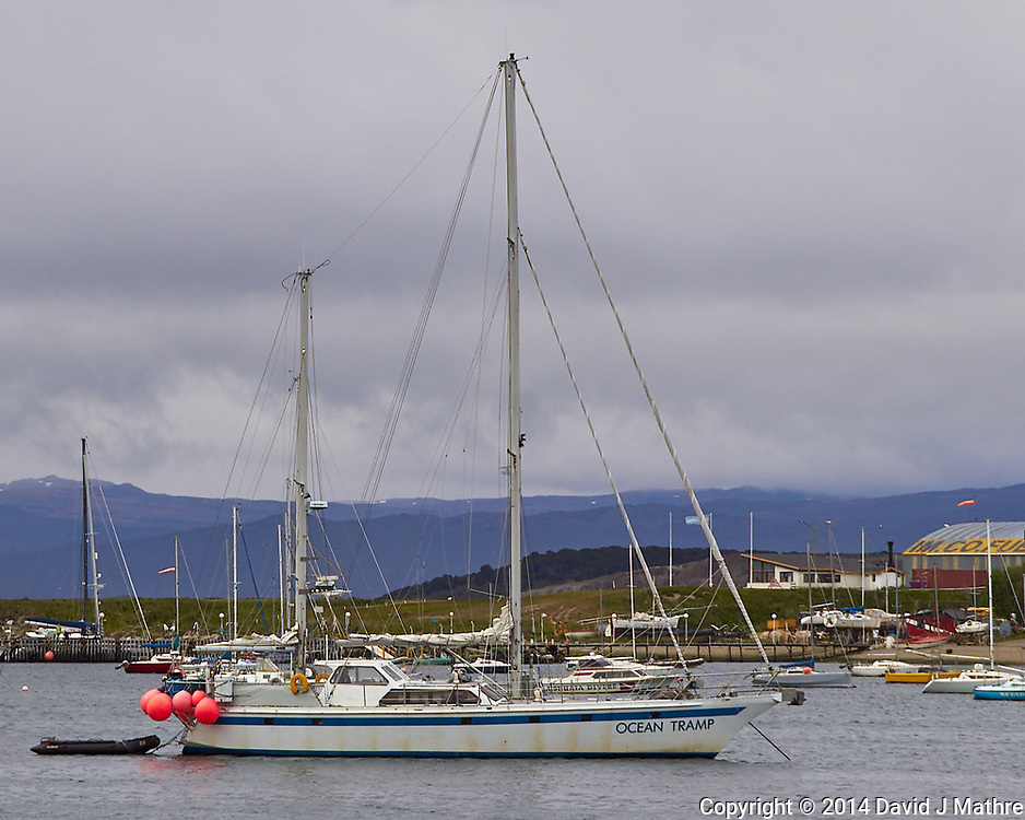 Ocean Tramp anchored in the harbor in Ushuaia, Argentina. Image taken with a Leica T camera and 18-56 mm lens.