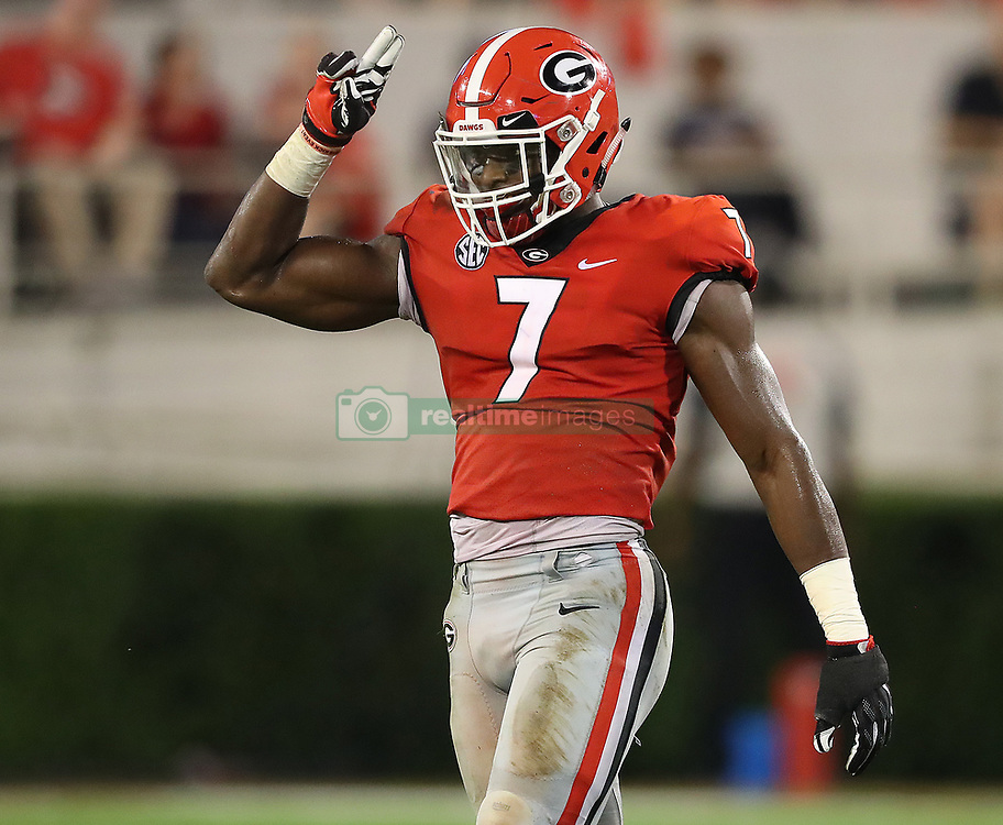September 16, 2017 - Athens, GA, USA - Georgia linebacker Lorenzo Carter reacts to sacking Samford quarterback Devin Hodges during the second quarter on Saturday, Sept. 16, 2017, at Sanford Stadium in Athens, Ga. (Credit Image: © Curtis Compton/TNS via ZUMA Wire)