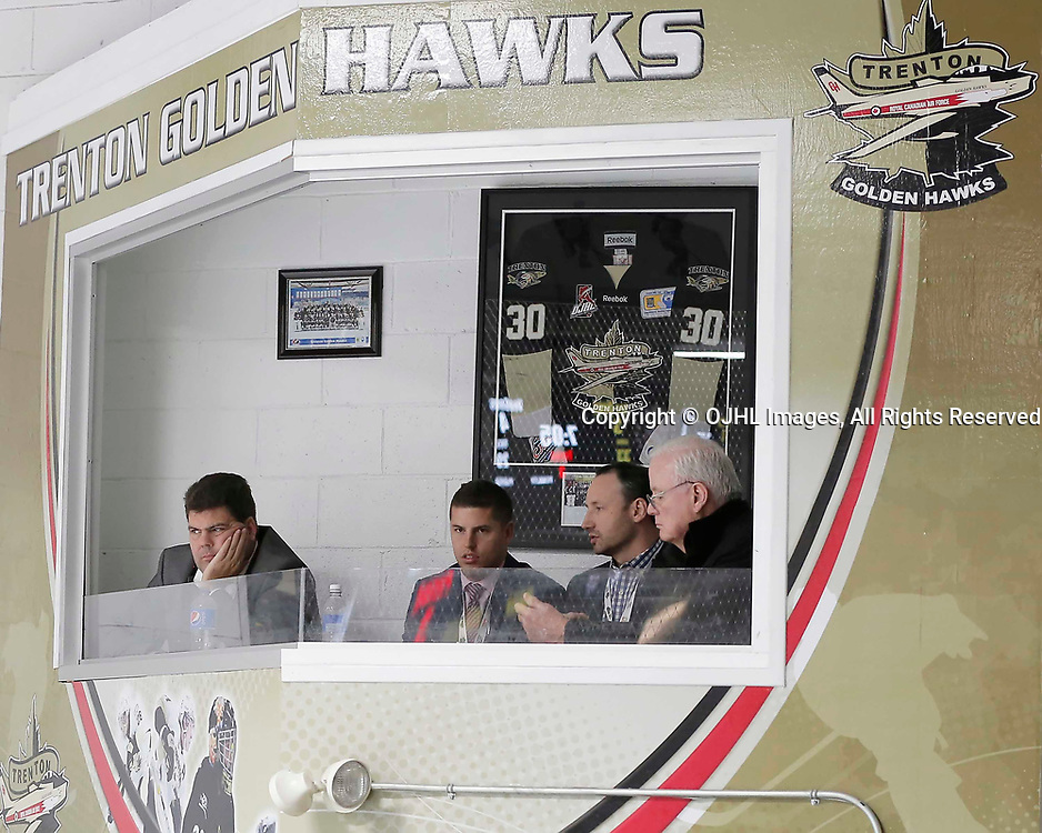 TRENTON, ON  - MAY 3,  2017: Canadian Junior Hockey League, Central Canadian Jr. &quot;A&quot; Championship. The Dudley Hewitt Cup. Game 3 between the Powassan Voodoos and the Dryden GM Ice Dogs. Trenton Hawks booth. <br /> (Photo by Amy Deroche / OJHL Images)