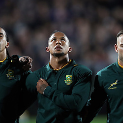 Courtnall Skosan with Elton Jantjies and Francois Hougaard during the Rugby Championship match between the New Zealand All Blacks and South Africa Springboks at QBE Stadium in Albany, Auckland, New Zealand on Saturday, 16 September 2017. Photo: Shane Wenzlick / lintottphoto.co.nz