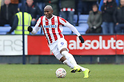 Stoke City forward Benik Afobe (9) on loan from Wolverhampton Wanderers during the The FA Cup 3rd round match between Shrewsbury Town and Stoke City at Greenhous Meadow, Shrewsbury, England on 5 January 2019.