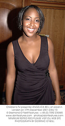 Children's TV presenter ANGELICA BELL at a ball in London on 17th December 2001.	OWJ 13