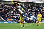 Rotherham United Midfielder Grant Ward challenged by Preston North End Defender Greg Cunningham during the Sky Bet Championship match between Preston North End and Rotherham United at Deepdale, Preston, England on 2 January 2016. Photo by Pete Burns.