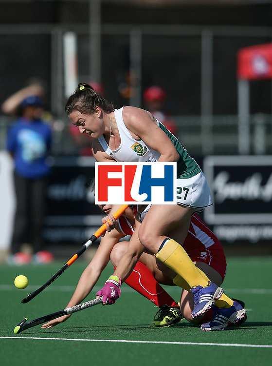 JOHANNESBURG, SOUTH AFRICA - JULY 14: Jade Mayne of South Africa and Denise Krimerman of Chile battle for possession during day 4 of the FIH Hockey World League Semi Finals Pool B match between Chile and South Africa at Wits University on July 14, 2017 in Johannesburg, South Africa. (Photo by Jan Kruger/Getty Images for FIH)