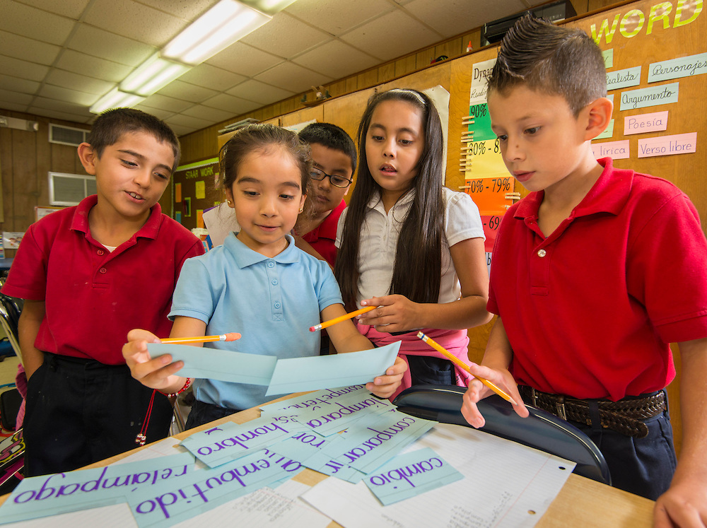 Students work on projects at Windsor Village Elementary School, September 29, 2014.