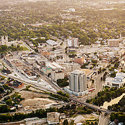 Downtown Guelph as seen from a cessna flying above the city.  Taken summer 2014.  Many of the new projects in the core of the city can be seen.  Photo by Andrew Goodwin / Phil Maurion / Eye Fly Media Inc.