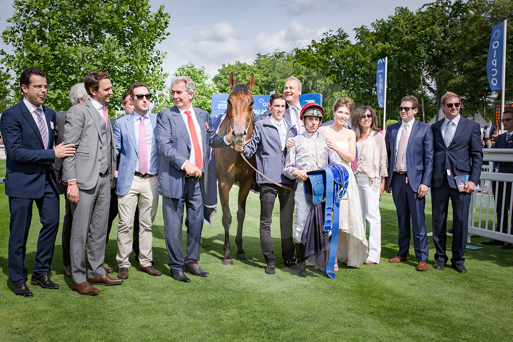Brametot (C.Demuro) (outside red cap) wins QIPCO Prix du Jockey Club Gr. 1   in Chantilly, France, 04/06/2017 Photo: Zuzanna Lupa / Racingfotos.com