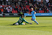 Ryan Broom scores his second goal of the game  during the EFL Sky Bet League 2 match between Salford City and Cheltenham Town at Moor Lane, Salford, United Kingdom on 14 September 2019.