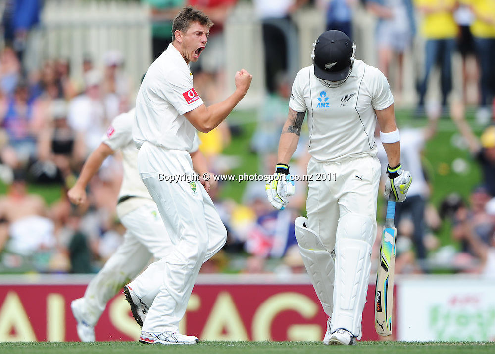 James Pattinson sends off Brendon McCullum on Day 2 of the second cricket test between Australia and New Zealand Black Caps at Bellerive Oval in Hobart, Saturday 10 December 2011. Photo: Andrew Cornaga/Photosport.co.nz