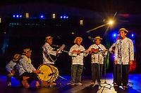 Haururu Papenoo choir performing during in the Winners Showcase, the final night of the Heiva i Tahiti (July cultural festival), Place Toata, Papeete, Tahiti, French Polynesia.