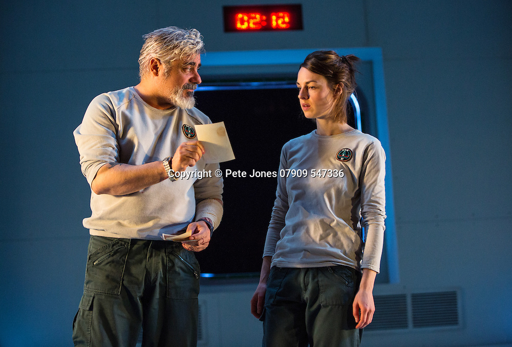 """""""X"""" by Alistair McDowell;<br /> Directed by Vicky Featherstone;<br /> Darrell D'Silva as Ray;<br /> Jessica Raine as Gilda;<br /> 1 April 2016;<br /> Jerwood Theatre Downstairs, Royal Ct, London, UK"""