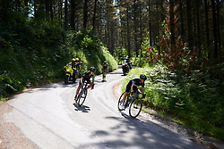 Omer Shapira (ISR) and Kristabel Doebel-Hickok (USA) on the descent to Elorrio at Emakumeen Bira 2018 - Stage 4, a 120 km road race starting and finishing in Durango, Spain on May 22, 2018. Photo by Sean Robinson/Velofocus.com