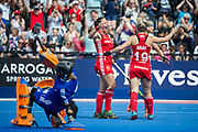 England celebrate the equaliser. Ellie Watton, Susannah Townsend & Sophie Bray. England v The Netherlands, Lee Valley Hockey and Tennis Centre, London, England on 11 June 2017. Photo: Simon Parker
