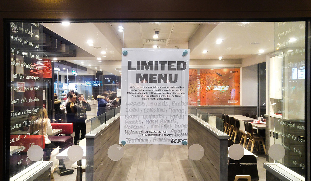 © Licensed to London News Pictures. 03/03/2018. Salford, UK. A limited menu in operation at a branch of KFC in Salford today as the fast food supplier has reported problems with a new food distribution supplier across its UK outlets . Photo credit: Joel Goodman/LNP
