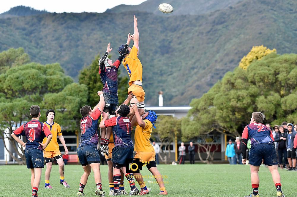 College Rugby - St Bernard's College v HIBS  at St Bernard's College, Lower Hutt,  New Zealand on Saturday 21 May 2016. <br /> Photo by Masanori Udagawa. <br /> www.photowellington.photoshelter.com.