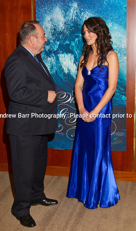 08/09/2011.Water and Waves Gala diner anbd Fashion show at The Crowne Plaza, Glasgow in aid of the Fishermens Mission...First Minister Alex Salmond meets Miss Scotland 2011 Jennifer Reoch. .Pic:Andy Barr.07974 923919  (mobile).andy_snap@mac.com.All pictures copyright Andrew Barr Photography. .Please contact before any syndication. .