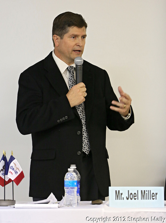 Auditor Joel Miller (D) answers a question at the Linn County Auditor Candidate Forum sponsored by the League of Women Voters Linn County at Kirkwood Training and Outreach Center, 3375 Amar Drive, in Marion on Tuesday, October 23, 2012.