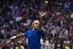September 21, 2018 - Chicago, Illinois, U.S - Team Europe member ROGER FEDERER of Switzerland serves during the first doubles match on Day One of the Laver Cup at the United Center in Chicago, Illinois. (Credit Image: © Shelley Lipton/ZUMA Wire)