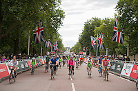 Riders taking part in the Prudential RideLondon FreeCycle on The Mall. Prudential RideLondon is the world's greatest festival of cycling, involving 95,000+ cyclists – from Olympic champions to a free family fun ride - riding in five events over closed roads in London and Surrey over the weekend of 1st and 2nd August 2015. <br /> <br /> Photo: Thomas Lovelock for Prudential RideLondon<br /> <br /> See www.PrudentialRideLondon.co.uk for more.<br /> <br /> For further information: Penny Dain 07799 170433<br /> pennyd@ridelondon.co.uk