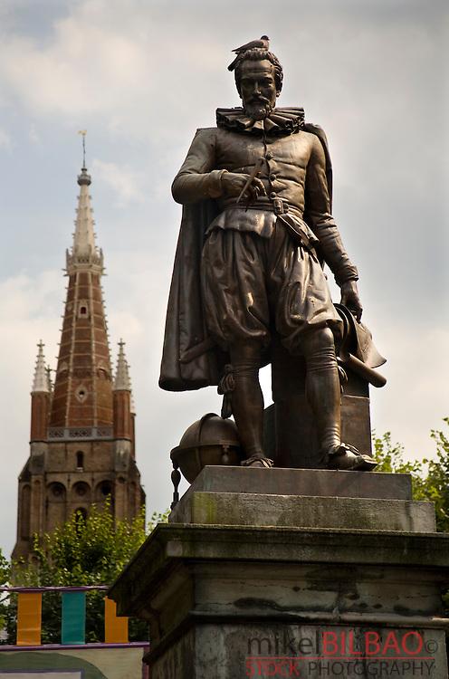 Simon Stevin statue.<br /> Bruges, Belgium, Europe.