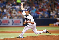 September 16, 2017 - St. Petersburg, Florida, U.S. - WILL VRAGOVIC       Times.Tampa Bay Rays starting pitcher Alex Cobb (53) throwing in the fourth inning of the game between the Boston Red Sox and the Tampa Bay Rays at Tropicana Field in St. Petersburg, Fla. on Saturday, Sept. 16, 2017. (Credit Image: © Will Vragovic/Tampa Bay Times via ZUMA Wire)