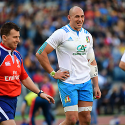 (R-L) Sergio Parisse of Italy shares a joke within judge Nigel Owens during the RBS Six Nations match between Italy and France at Olimpico Stadium on March 11, 2017 in Rome, Italy. (Photo by Dave Winter/Icon Sport)