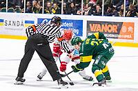 2020-03-10   Umeå, Sverige:Huvuddomare Johan Magnusson i ett nedsläpp under matchen i HA Finalserien mellan Björklöven och MoDo i A3 Arena ( Foto av: Michael Lundström   Swe Press Photo )<br /> <br /> Nyckelord: Umeå, Hockey, HA Finalserien, A3 Arena, Björklöven, MoDo, mlbm200310