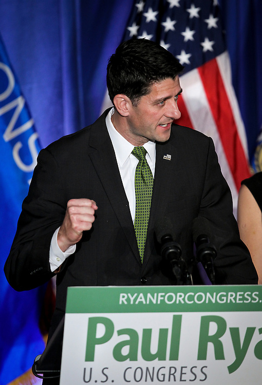 """U.S. Speaker of the House Paul Ryan (R-WI) speaks to the crowd during an """"Election Night event"""" in Janesville, Wisconsin, U.S. November 8, 2016. REUTERS/Ben Brewer"""