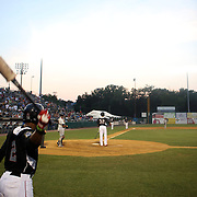Tony Thomas, (left), New Britain Rock Cats, prepares to bat as Aaron Hicks bats during the New Britain Rock Cats Vs Binghamton Mets Minor League Baseball game at New Britain Stadium, New Britain, Connecticut, USA. 2nd July 2014. Photo Tim Clayton