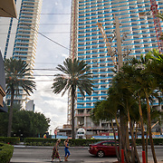 SUNNY ISLES BEACH, FL - OCTOBER 25, 2016:<br /> Pedestrian traffic on Collins Avenue in Sunny Isles Beach where Donald Trump has several buildings. Russian realtors like Roman Brokeria have tapped into the Russian speaking customer base for Trump properties. (Photo by Angel Valentin/For The Washington Post)