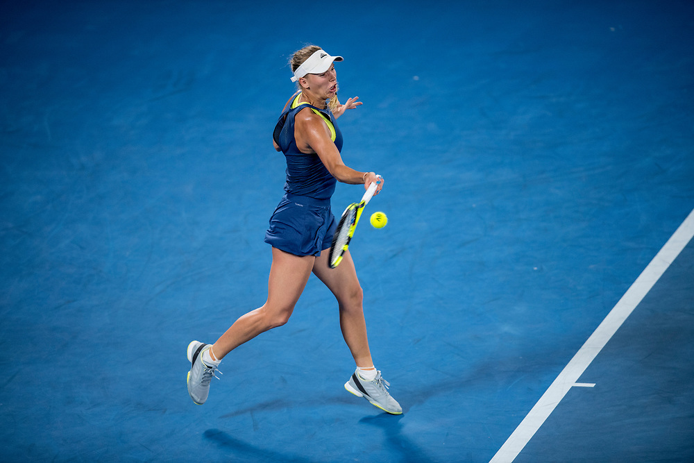 Caroline Wozniacki of Denmark on day nine of the 2018 Australian Open in Melbourne Australia on Tuesday January 23, 2018.<br /> (Ben Solomon/Tennis Australia)