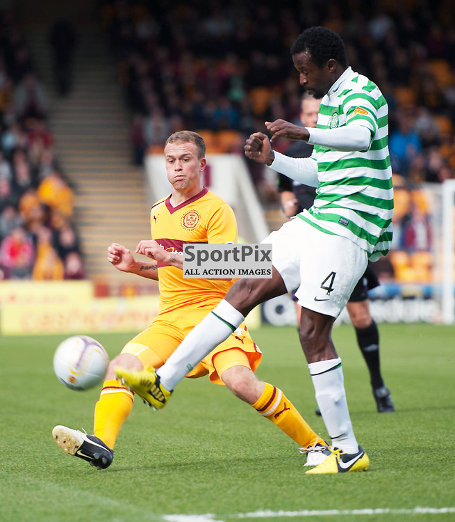 Efe Ambrose gets to the ball before Nicky Law. The Clydesdale Bank Scottish Premier League, Season 2012/13, Motherwell v Celtic, Fir Park, 29 September 2012 Angela Isac | StockPix.eu