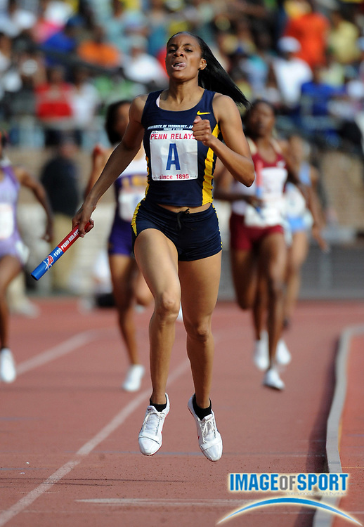 Apr 25, 2009, Philadelphia, PA, USA; Kaliese Spencer anchors UTech women's 4 x 400m relay to victory in the college championship in 3:30.61 in the 115th Penn Relays at the University of Pennsylvania's Franklin Field.