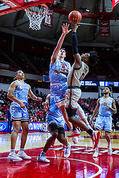 NORMAL, IL - February 08: DJ Horne lifts a shot over the outstretched hand of Jake Laravia during a college basketball game between the ISU Redbirds and the Indiana State Sycamores on February 08 2020 at Redbird Arena in Normal, IL. (Photo by Alan Look)