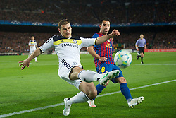 24.04.2012, Stadion Camp Nou, Barcelona, ESP, UEFA CL, Halblfinal-Rueckspiel, FC Barcelona (ESP) vs FC Chelsea (ENG), im Bild Chelsea's Branislav Ivanovic and FC Barcelona's Xavi Hernandez during the UEFA Championsleague Halffinal 2st Leg Match, between FC Barcelona (ESP) and FC Chelsea (ENG), at the Camp Nou Stadium, Barcelona, Spain on 2012/04/24. EXPA Pictures © 2012, PhotoCredit: EXPA/ Propagandaphoto/ David Rawcliff..***** ATTENTION - OUT OF ENG, GBR, UK *****