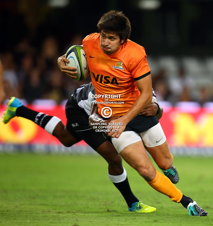 DURBAN, SOUTH AFRICA - MARCH 05:  Lucas Gonzalez Amorosino of the Jaguares during the 2016 Super Rugby match between Cell C Sharks and Jaguares at Growthpoint Kings Park Stadium on March 05, 2016 in Durban, South Africa. (Photo by Steve Haag/Gallo Images)