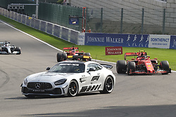 September 1, 2019, Spa Francorchamps, Belgium: Safety car on track after the crash of Red Bull Racing Driver MAX VERSTAPPEN (NDL) during the race of the Formula one Johnnie Walker Belgian Grand Prix at the SPA Francorchamps circuit - Belgium..Charles Leclerc wins his first Formula One Grand Prix (Credit Image: © Pierre Stevenin/ZUMA Wire)