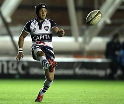 Bristol's Matthew Morgan kicks - Photo mandatory by-line: Robbie Stephenson/JMP - Mobile: 07966 386802 - 17/04/2015 - SPORT - Rugby - Bristol - Ashton Gate - Bristol Rugby v Jersey - Greene King IPA Championship