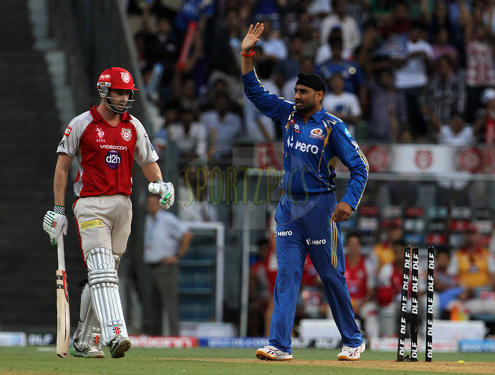 Mumbai Indian captain Harbhajan Singh appeals unsuccessfully during match 28 of the Indian Premier League ( IPL) 2012  between The Mumbai Indians and the Kings X1 Punjab held at the Wankhede Stadium in Mumbai on the 22nd April 2012..Photo by: Vipin Pawar/IPL/SPORTZPICS