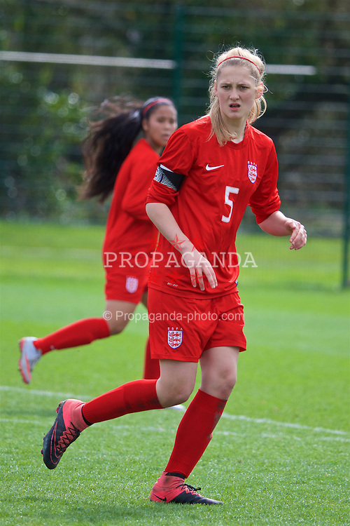 NEWPORT, WALES - Monday, April 4, 2016: England's captain Ellie Hack in action against Republic of Ireland during the Final on day four of the Bob Docherty International Tournament 2016 at Dragon Park. (Pic by David Rawcliffe/Propaganda)