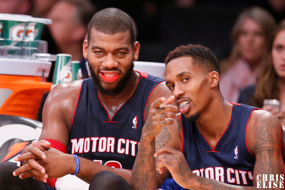 17 November 2013: Detroit Pistons power forward Greg Monroe (10) and Detroit Pistons point guard Brandon Jennings (7) are seen on the bench during the Los Angeles Lakers 114-99 victory over the Detroit Pistons at the Staples Center, Los Angeles, California, USA.