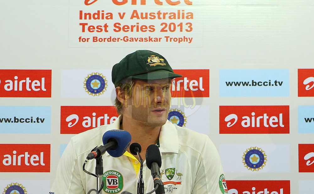 Shane Watson of Australia addresses the media during day 3 of the 4th Test Match between India and Australia held at the Feroz Shah Kotla stadium in Delhi on the 24th March 2013..Photo by Ron Gaunt/BCCI/SPORTZPICS ..Use of this image is subject to the terms and conditions as outlined by the BCCI. These terms can be found by following this link:..http://www.sportzpics.co.za/image/I0000SoRagM2cIEc