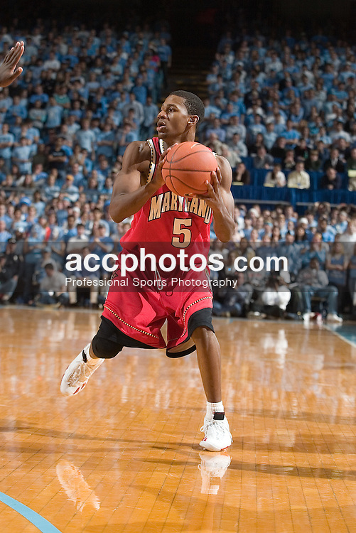 26 February 2006: Junior Maryland guard (5) D.J. Strawberry during a Maryland Terrapins 57-81 loss to the North Carolina Tar Heels, in the Dean Smith Center in Chapel Hill, NC.