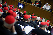 12th feb 2015 Vatican City, opening session of the Extraordinary Consistory. In the picture the cardinals listen the pope Francis' speech