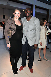 SOL CAMPBELL and his wife FIONA BARRATT at a VIP dinner hosted by Maserati following the unveiling of the new Maserati 'Quattroporte' at The Hurlingham Club, London on 17th April 2013.