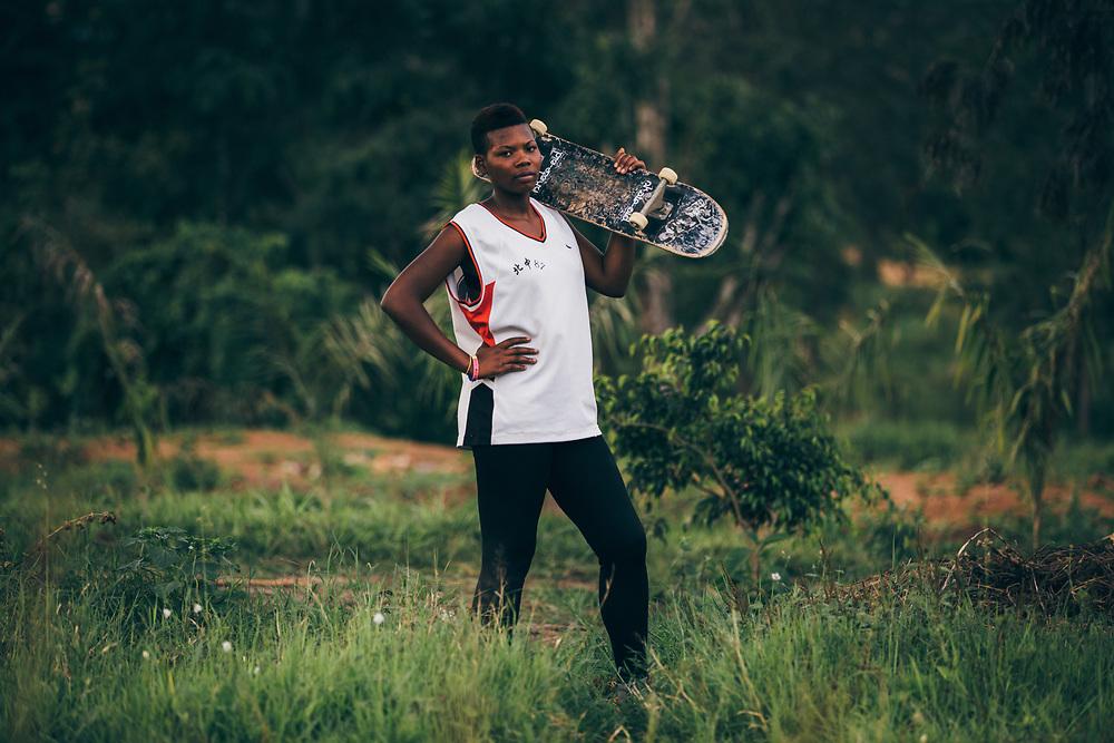 Debraher, the first female skateboarder in Rwanda.