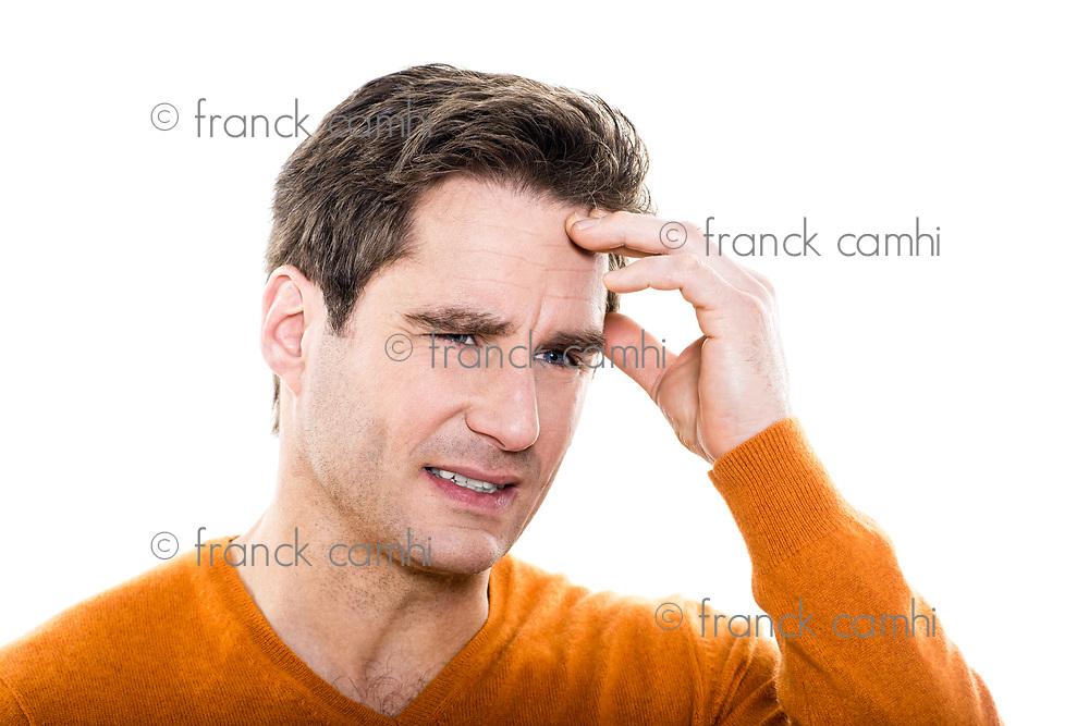 one  man mature headache portrait studio white background