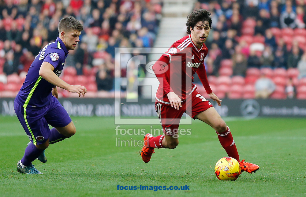 Diego Fabbrini (r) of Middlesbrough and Johann Gudmundsson of Charlton Athletic during the Sky Bet Championship match at the Riverside Stadium, Middlesbrough<br /> Picture by Simon Moore/Focus Images Ltd 07807 671782<br /> 31/10/2015